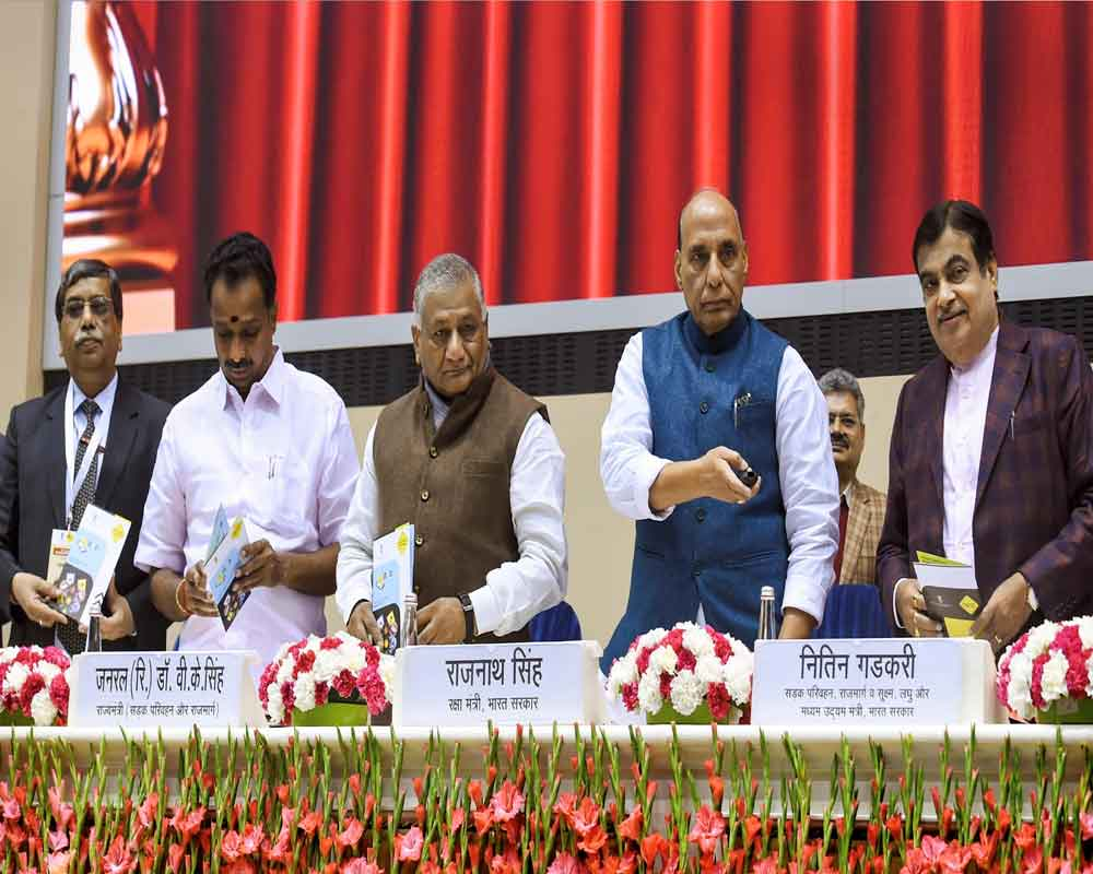 Defence Minister Rajnath Singh, Union Minister for Road Transport Nitin Gadkari, Retired Army Chief VK Singh and others during 'Road Safety Stakeholders' meeting as part of the 31st National Road Safety Week, in New Delhi - PTI
