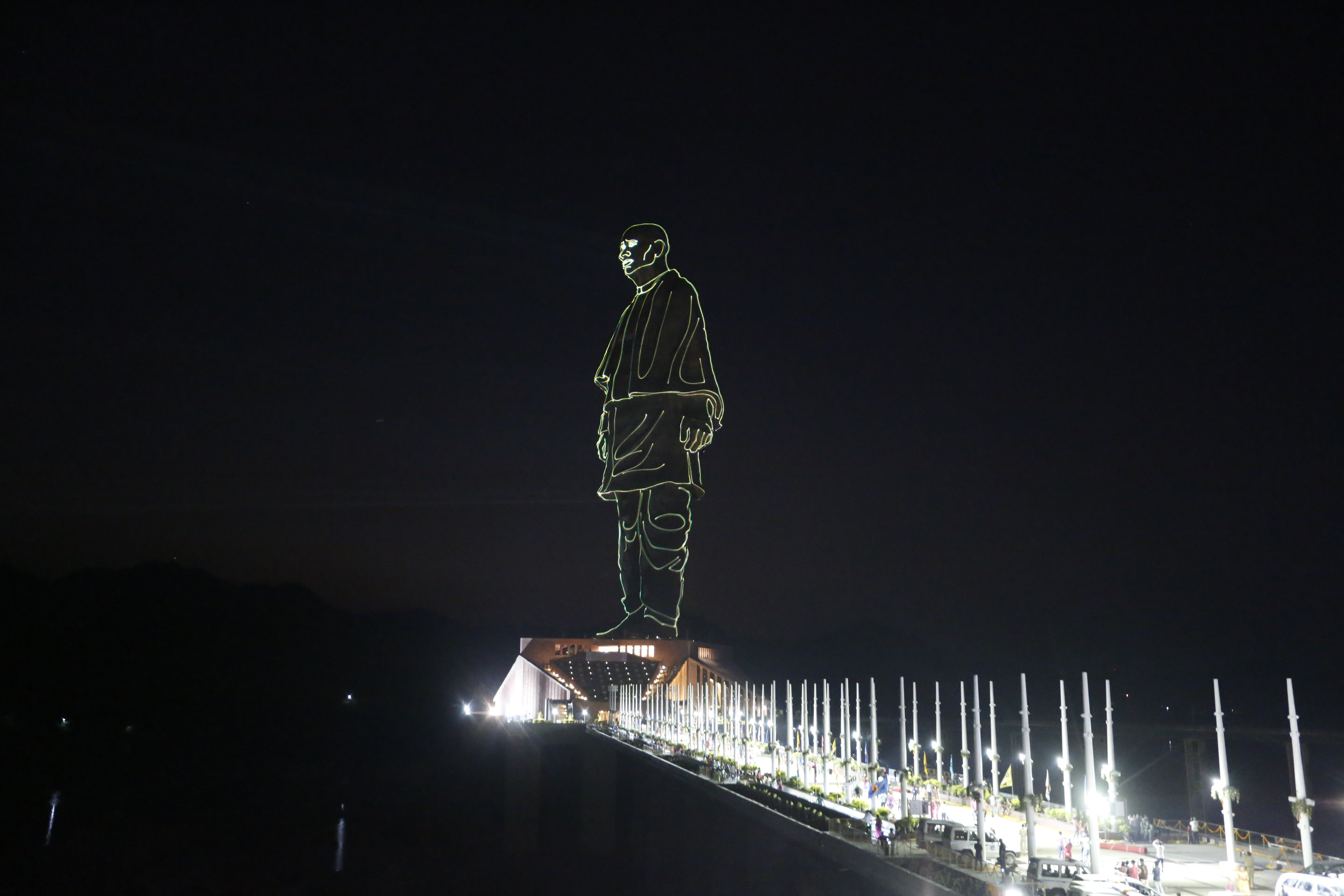 The Statue of Unity is seen during a laser show at Kevadiya Colony in Narmada district of Gujarat State - AP