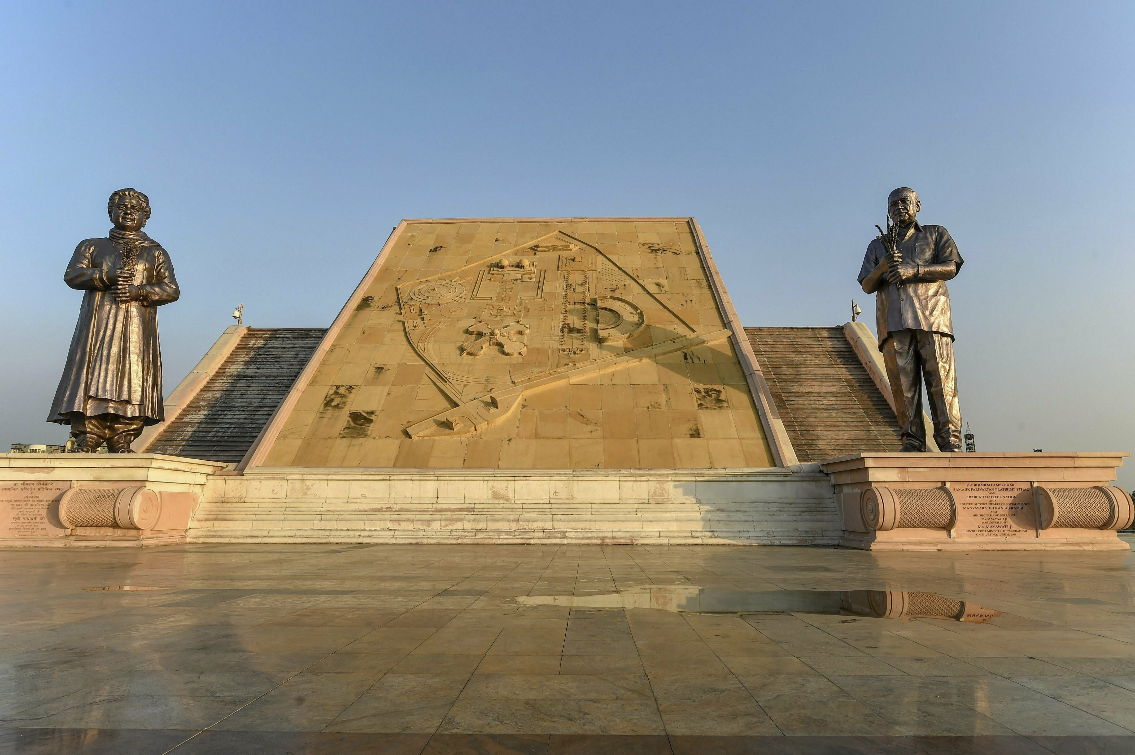 A view of statues of BSP founder Kanshi Ram and BSF chief Mayawati, at Ambedkar Park in Lucknow