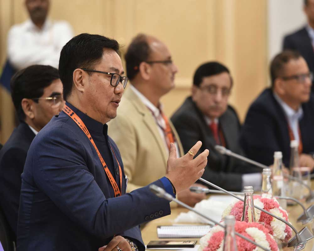 Union Minister of Youths and Sports (I/C) Kiren Rijiju chairs a conference with ministers, secretaries and principal secretaries of the states/UT'S in charge of Youth Affairs and Sports, at Vigyan Bhavan in New Delhi - PTI