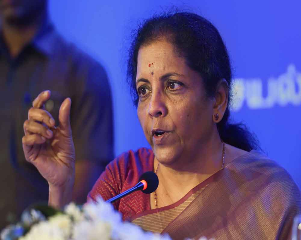 Union FM Nirmala Sitharaman addresses the media during the release of 'Jan Connect' on the initiatives taken by the government under '100 days of Bold Initiatives and Decisive Actions', in Chennai - PTI