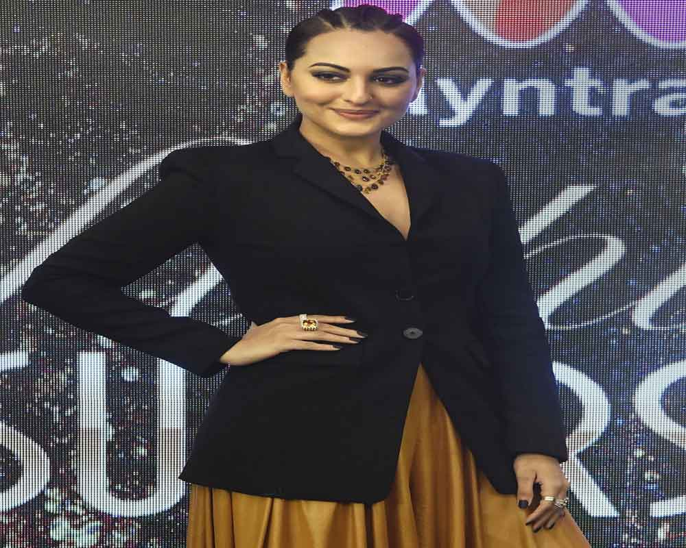 Bollywood actor Sonakshi Sinha poses for photos during the newly launched Myntra Fashion Superstar, in Mumbai - PTI