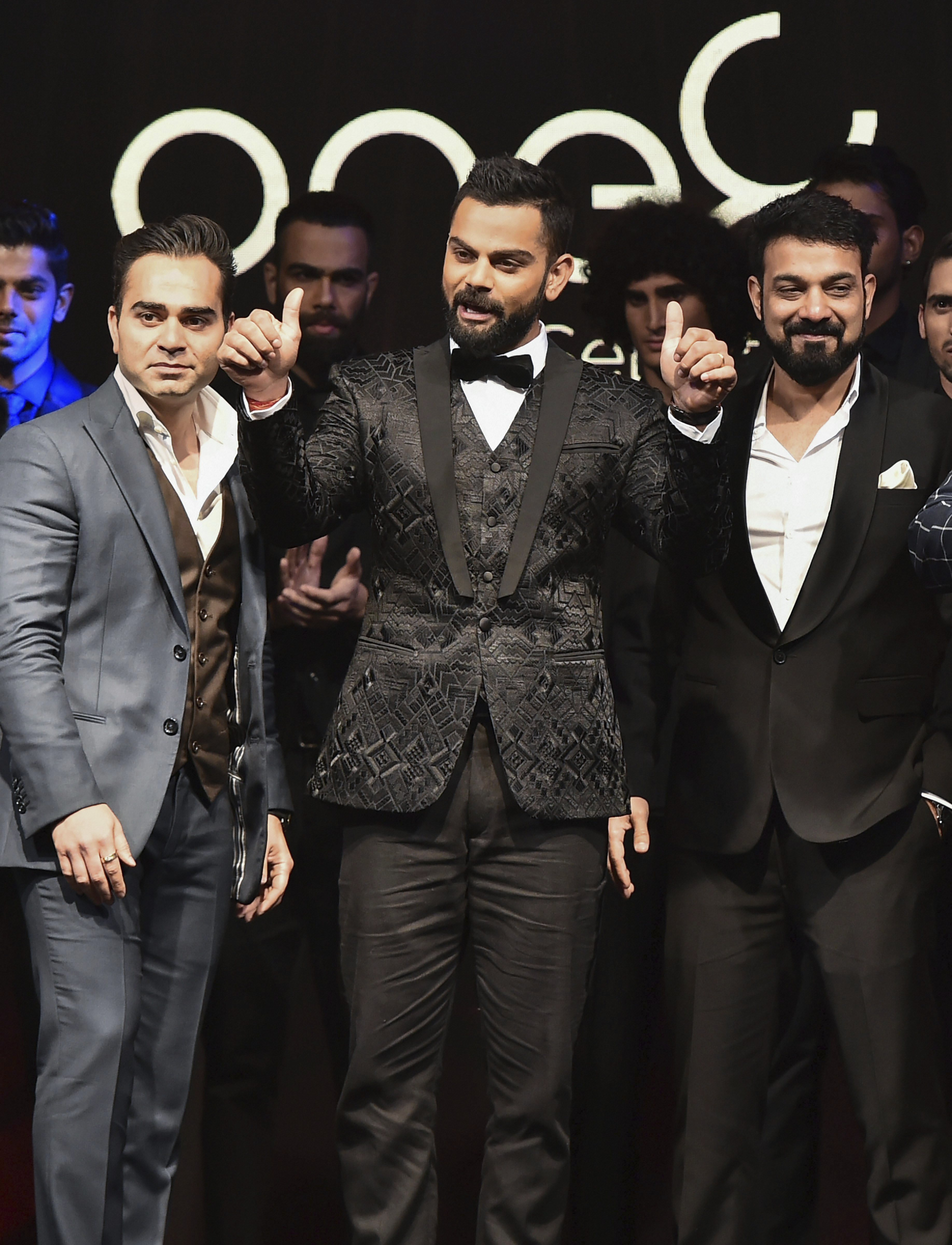 Indian Cricketer Virat Kohli walks the Ramp while launching a line of formal footwear under his own brand