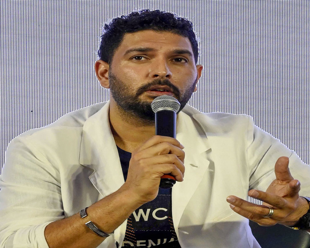 Cricketer Yuvraj Singh speaks at the event 'In Conversation With Yuvraj Singh' in Mumbai - PTI
