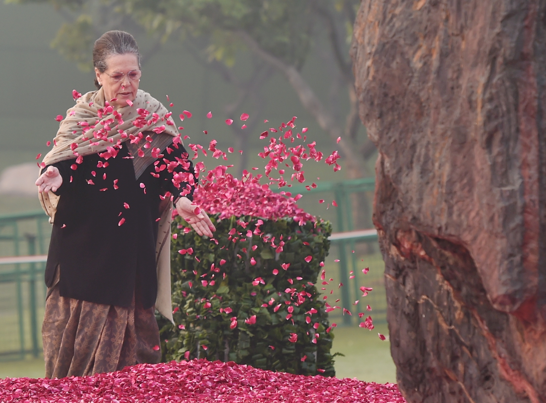 Congress President Sonia Gandhi pays floral tribute to former prime minister Indira Gandhi on her birth anniversary - PTI
