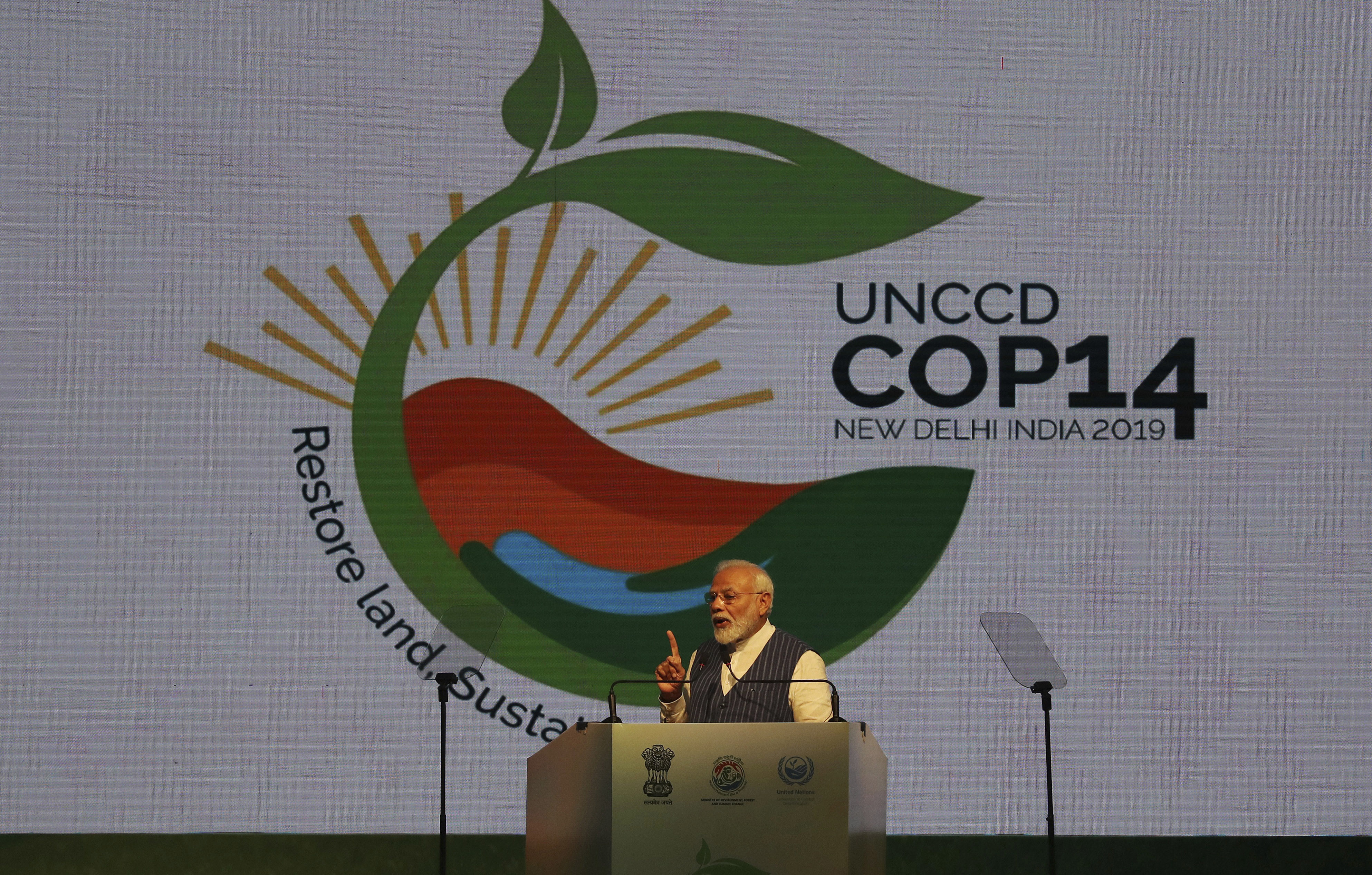 Prime Minister Narendra Modi speaks during the opening ceremony of the 14th Session of the Conference - AP