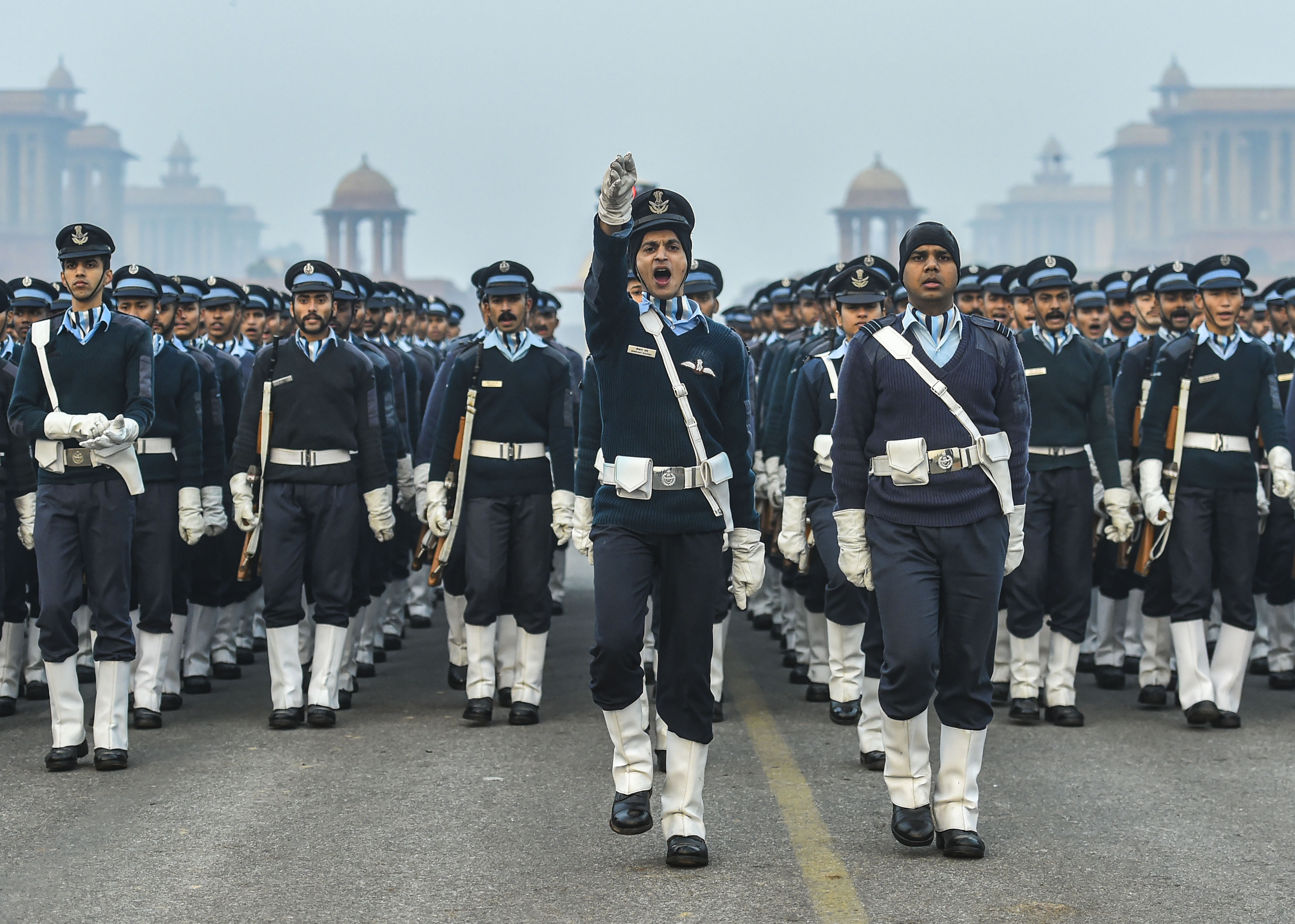 Indian Air Force personnel during the rehearsal for the upcoming Republic Day parade, on a cold, winter morning at Rajpath in New Delhi - PTI