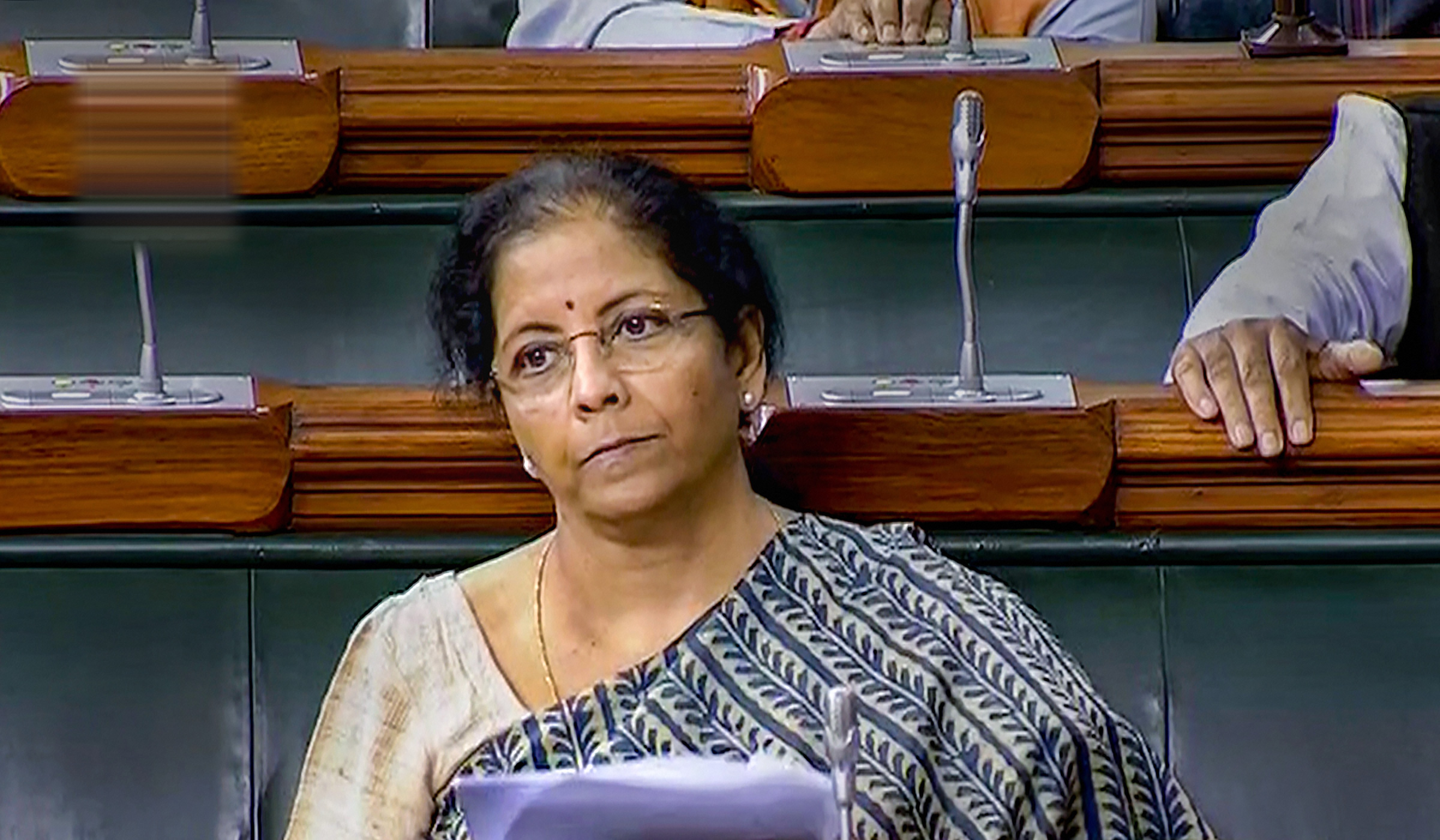 Finance Minister Nirmala Sitharaman at Lok Sabha during the ongoing budget session of Parliament, in New Delhi- PTI