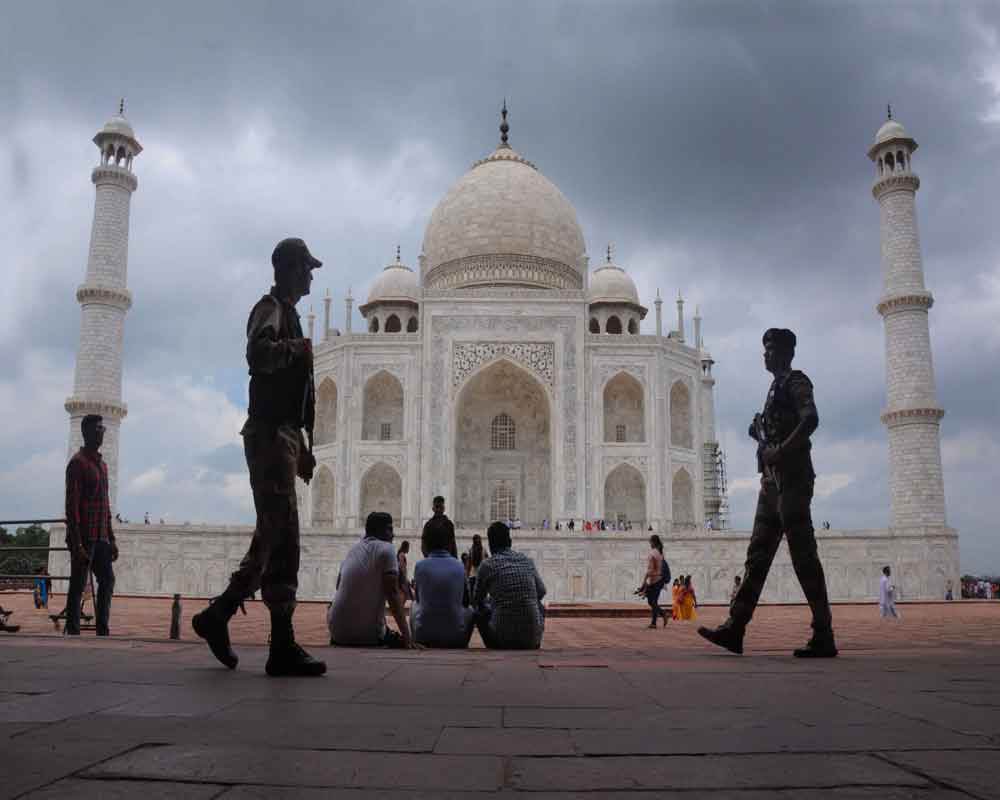 Security tightened at Taj Mahal ahead of Independence Day celebrations, in Agra - PTI