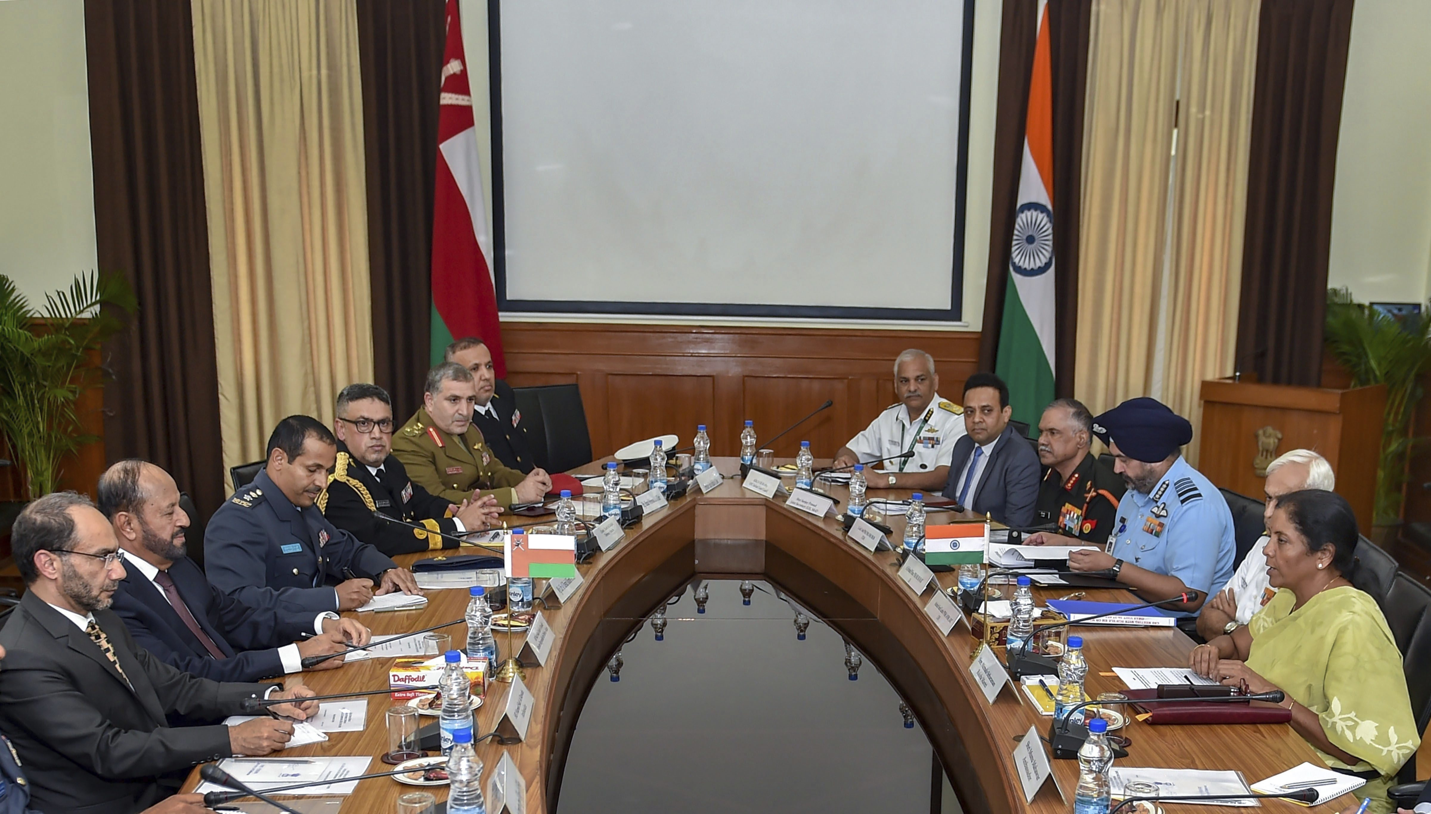 Defence Minister Nirmala Sitharaman with Indian Navy chief Admiral Lanba and IAF chief Air Chief Marshal BS Dhanoa during delegation level talks with Oman's Defence Minister Badr bin Saud al-Busaidi (second L) at South Block in New Delhi - PTI