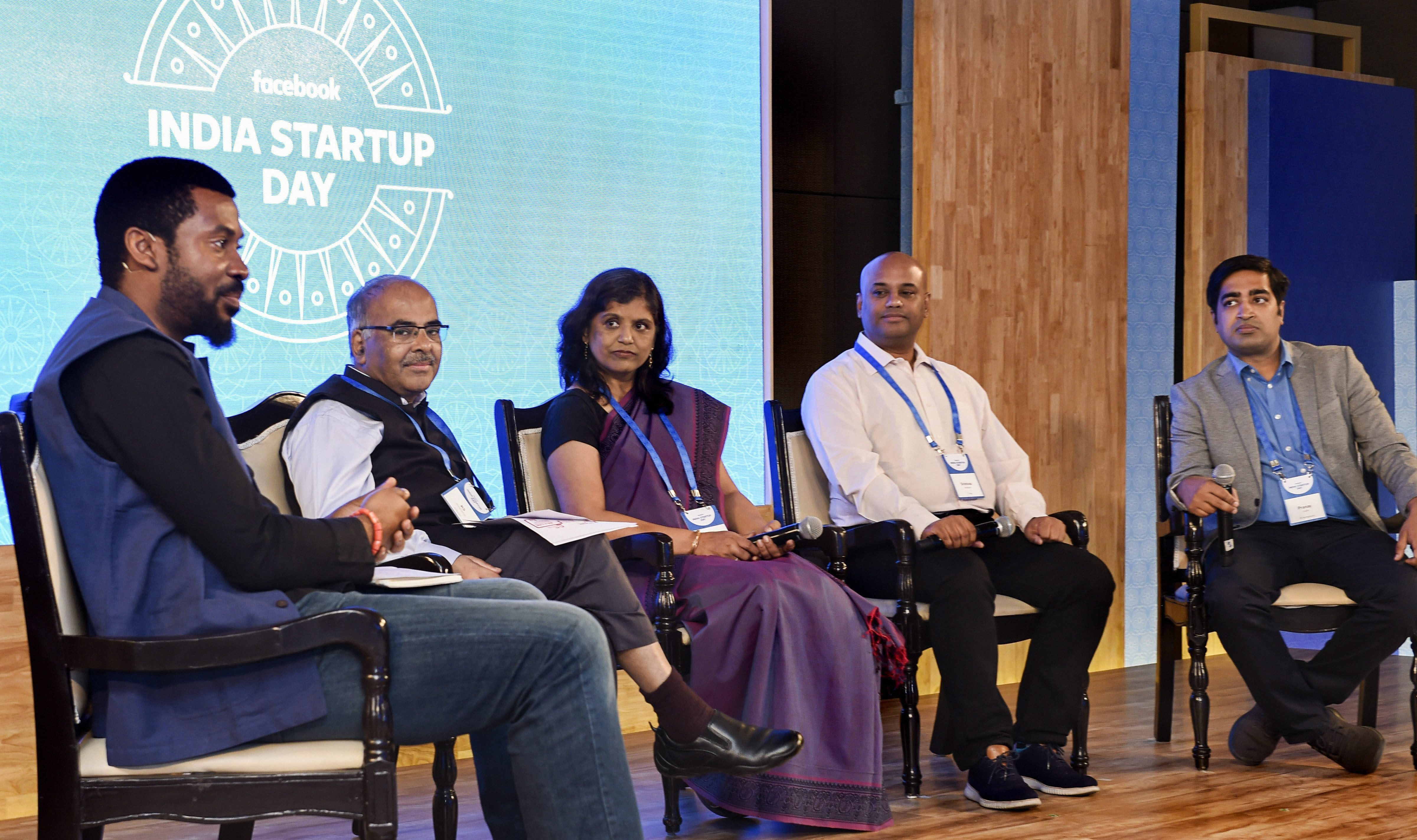 Facebook Head of Developer Programs Emeka Afigbo (L) and Nasscom Vice President (Industry Initiative) KS Viswanathan (2nd L) at the India Startup Day function, in New Delhi - PTI