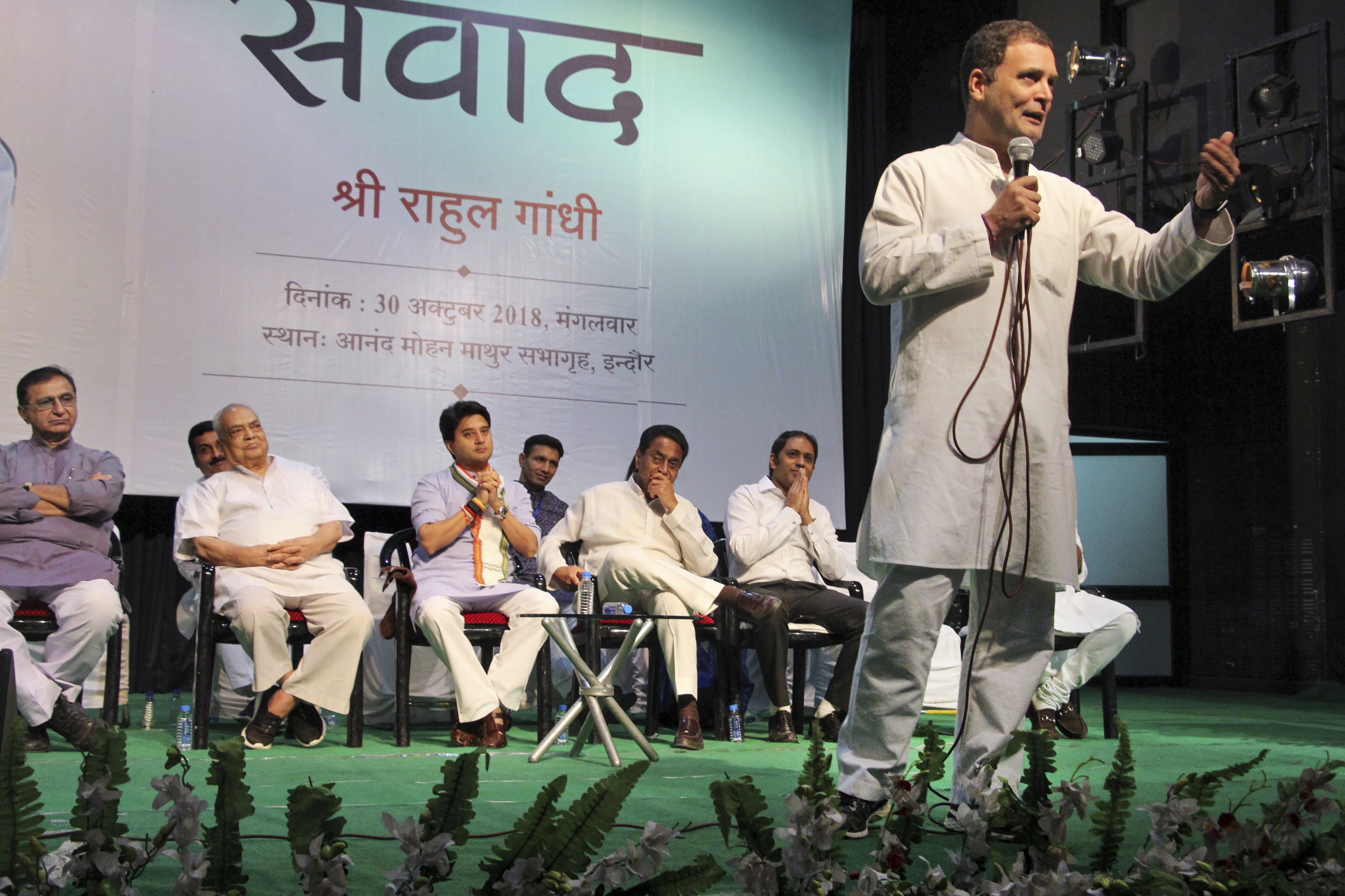 Congress President Rahul Gandhi addresses a gathering of lawyers, businessmen and others, in Indore - PTI
