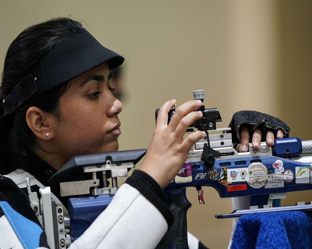Apurvi Chandela, of India, practices at the Asaka Shooting Range ahead of the 2020 Summer Olympics.