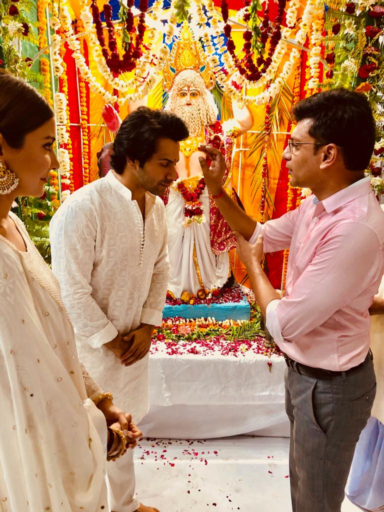 Bollywood actors Varun Dhawan and Anushka Sharma visit PTC industries plant to meet the factory workers during 'Vishkarma Pooja' in Lucknow