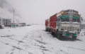 Today's Photo: Trucks pave across a snow-laden pass on Manali-Leh route after fresh snowfall, in Manali