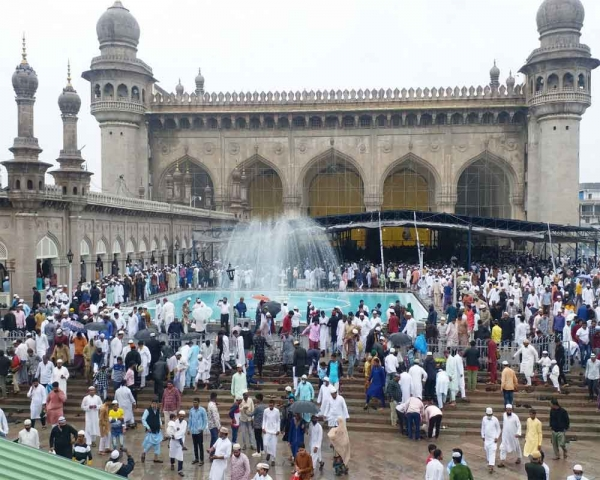 Today's Photo: Eid-al-Adha namaz being offered at Mecca Masjid in Hyderabad