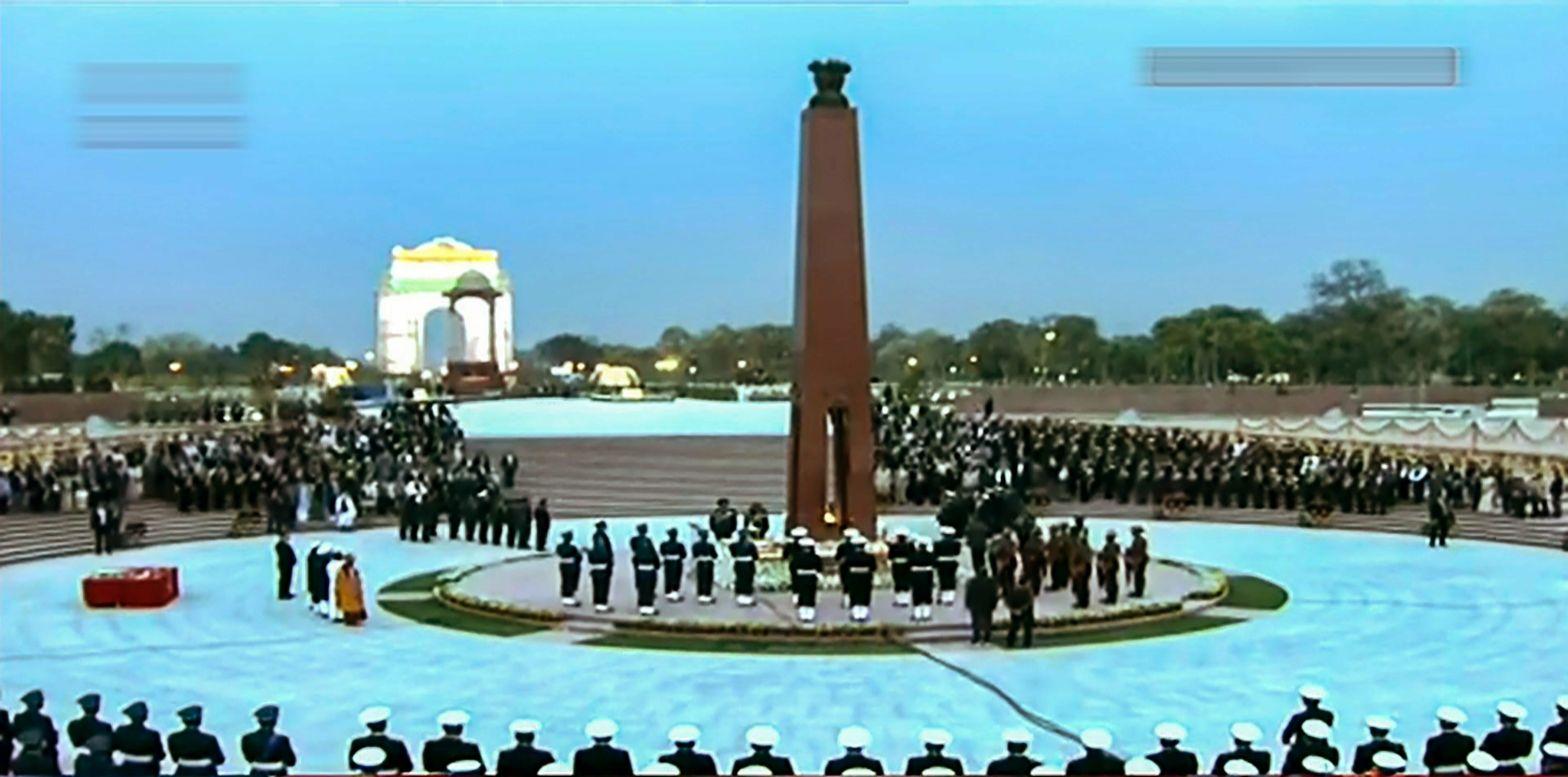 Prime Minister Narendra Modi along with Defence Minister Nirmala Sitharaman and tri-Service chiefs pays tribute at the National War Memorial (NWM) after its inauguration at India Gate complex in New Delhi - PTI